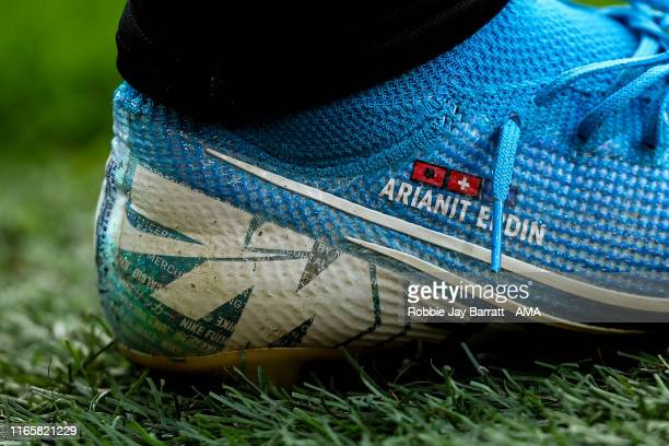 The Nike Mercurial football boots of Xherdan Shaqiri of Liverpool during the Premier League match between Burnley FC and Liverpool FC at Turf Moor on...