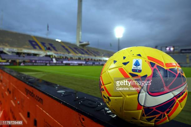 The Nike official match ball is seen prior during the Serie A match between ACF Fiorentina and Parma Calcio at Stadio Artemio Franchi on November 3,...
