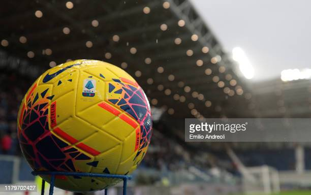 The Nike official match ball is seen prior to the Serie A match between Atalanta BC and Cagliari Calcio at Gewiss Stadium on November 3 2019 in...