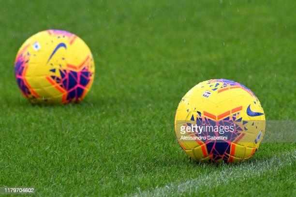 The Nike official match ball is seen prior to the Serie A match between Hellas Verona and Brescia Calcio at Stadio Marcantonio Bentegodi on November...