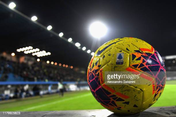 The Nike official match ball is seen prior to the Serie A match between SPAL and UC Sampdoria at Stadio Paolo Mazza on November 4, 2019 in Ferrara,...