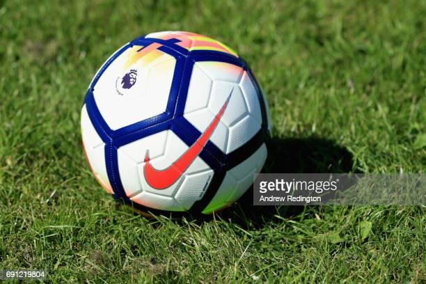 The Nike Ordem V Premier League Match Ball is pictured during the Premier League Kicks - Nike Ordem V Premier League Match Ball Launch on June 1,...