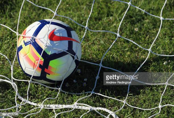 The Nike Ordem V Premier League Match Ball is pictured during the Premier League Kicks - Nike Ordem V Premier League Match Ball Launch on June 1,...