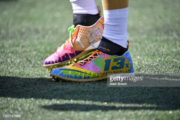 The Nike Pro Bowl cleats worns by Drew Brees of the New Orleans Saints prior to the 2020 NFL Pro Bowl at Camping World Stadium on January 26 2020 in...