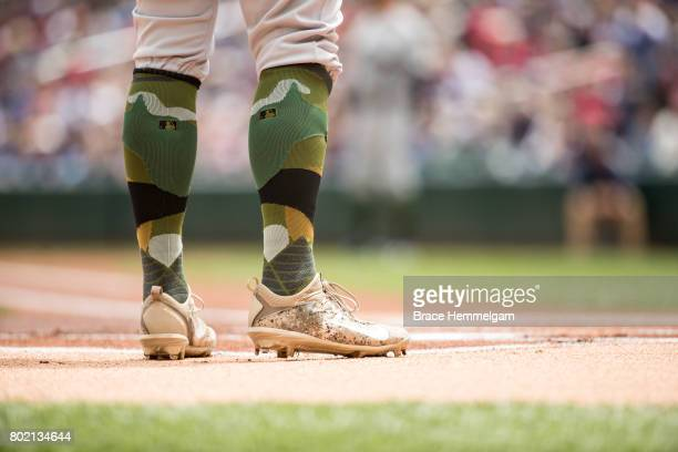 The Nike shoes and Memorial Day stance socks during a game between the Minnesota Twins and Houston Astros on May 29 2017 at Target Field in...