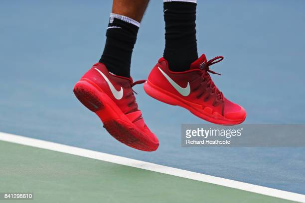 The Nike shoes of Nick Kyrgios of Australia are seen during play against Joao Sousa of Portugal and JanLennard Struff of Germany during their first...