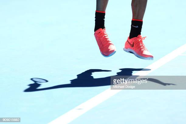 The Nike shoes of Roger Federer of Switzerland are seen on day nine of the 2018 Australian Open at Melbourne Park on January 23 2018 in Melbourne...