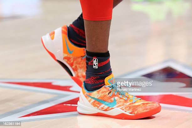 The NIKE shoes worn by Kobe Bryant of the Los Angeles Lakers and the Western Conference are seen during the 2013 NBA AllStar game at the Toyota...