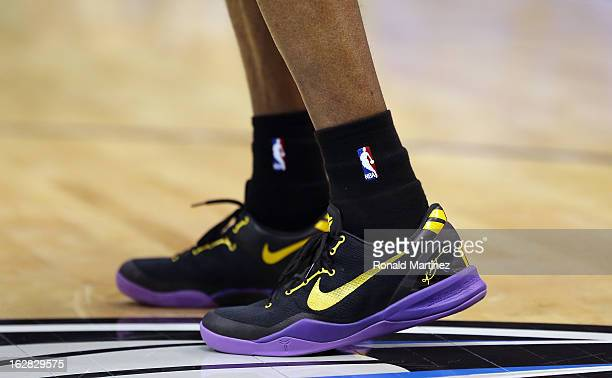 The Nike shoes worn by Kobe Bryant of the Los Angeles Lakers at American Airlines Center on February 24 2013 in Dallas Texas NOTE TO USER User...