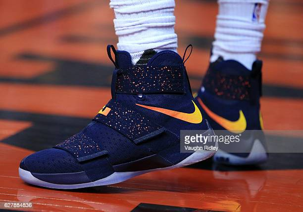 The Nike shoes worn by Lebron James of the Cleveland Cavaliers during the first half of an NBA game against the Toronto Raptors at Air Canada Centre...