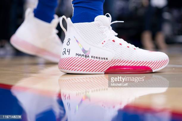 The Nike sneakers of Ben Simmons of the Philadelphia 76ers honor Kobe Bryant prior to the game against the Golden State Warriors at the Wells Fargo...