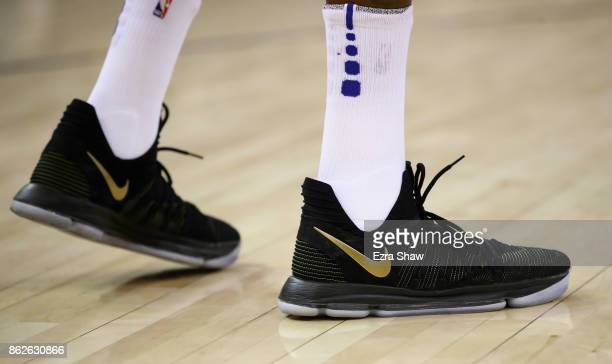 The Nike sneakers worn by Kevin Durant of the Golden State Warriors during their game against the Houston Rockets at ORACLE Arena on October 17 2017...