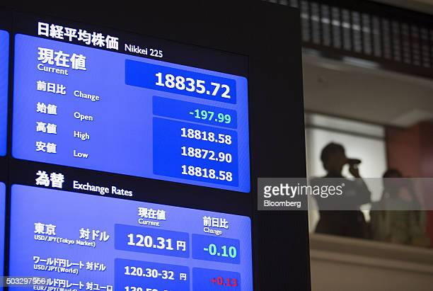 The Nikkei 225 Stock Average figure is displayed on a monitor as visitors take photographs at the Tokyo Stock Exchange operated by Japan Exchange...