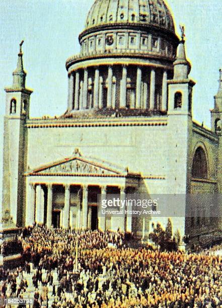 The nikolai Church in Berlin with Nazi marchers in front Circa 1933