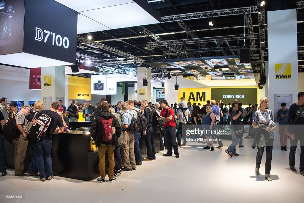 The Nikon booth at the 2014 Photokina trade fair on September 21, 2014 in Cologne, Germany. Photokina is the world's largest trade fair for cameras and photographic equipment.
