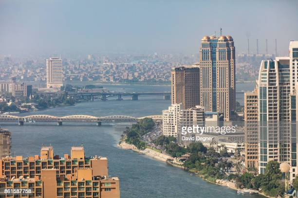 The Nile and buildings including the Nile City Towers on September 24 2017 in Cairo Egypt Overview photos of Cairo's buildings cityscape and...