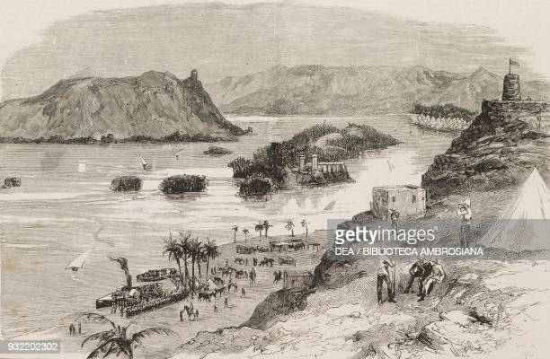 The Nile at Aswan with the encampments of British troops the British Nile Expedition for the relief of General Charles George Gordon Egypt Mahdist...