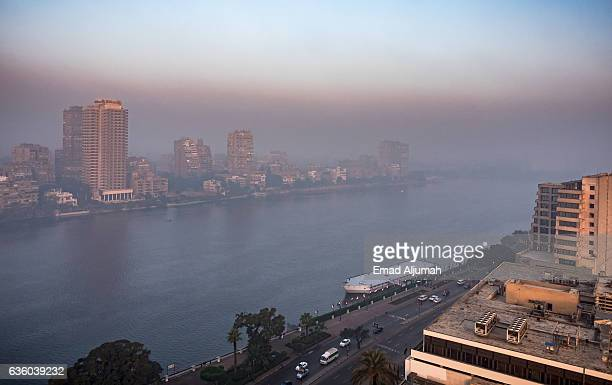 the Nile in mist, Cairo, Egypt