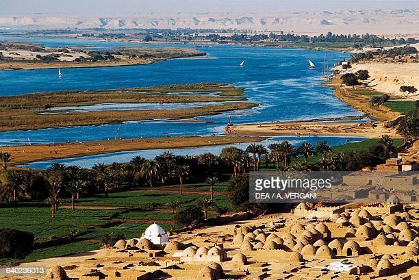 The Nile River near Zawyet elMaiyitin or Zawyet Sultan Muslim necropolis Miniah region Egypt