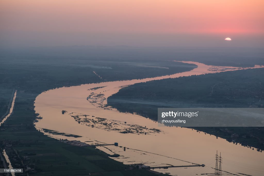 The Nile River Sunrise of Egypt : Stock Photo
