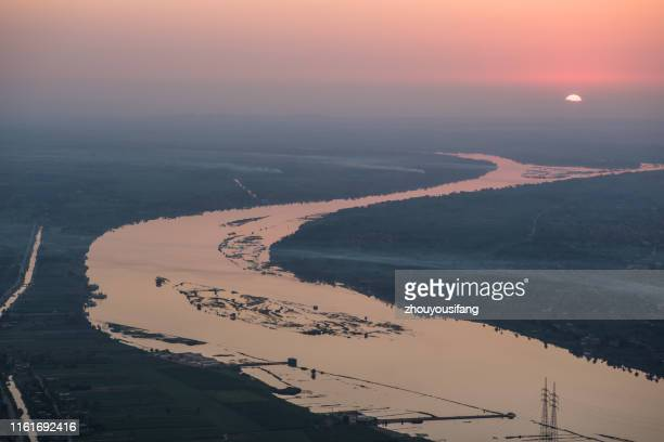 the nile river sunrise of egypt - ナイル川 ストックフォトと画像