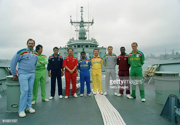 The nine captains on board a ship during the opening ceremony of the 1992 Cricket World Cup Sydney Australia February 1992 Left to right Graham Gooch...
