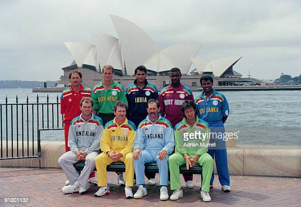 The nine captains posing opposite Sydney Opera House during the opening ceremony of the 1992 Cricket World Cup Sydney Australia February 1992...