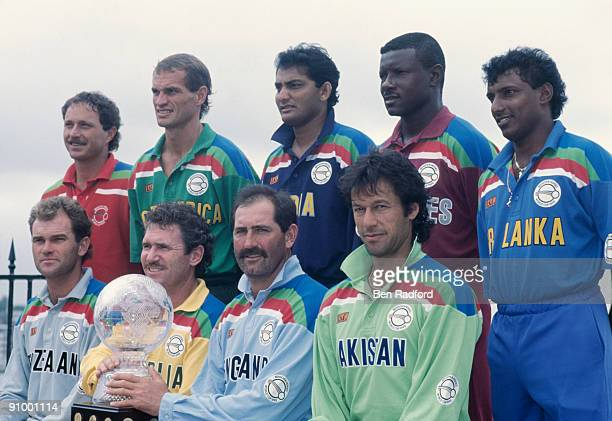 The nine captains posing with the trophy during the opening ceremony of the 1992 Cricket World Cup Sydney Australia February 1992 Standing left to...
