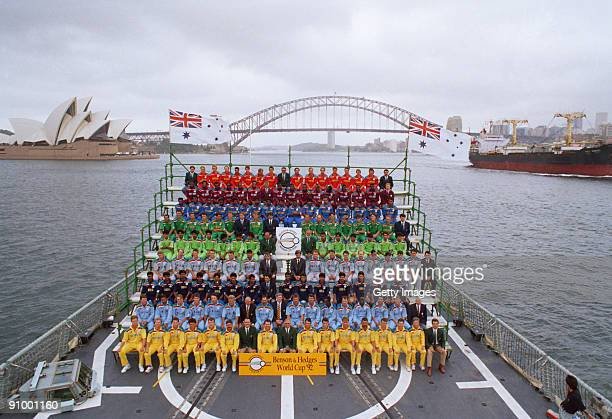 The nine competing teams on board a ship during the opening ceremony of the 1992 Cricket World Cup Sydney Australia February 1992 From front to back...