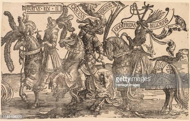 Arthur, Charles the Great , Godfrey of Bouillon, 1515-1517. Creator Lucas van Leyden .
