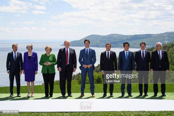 The nine leaders R European Union Council President Donald Tusk British Prime Minister Theresa May German Chancellor Angela Merkel US President...