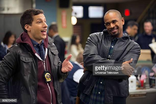 NINE 'The NineEight' Episode 315 Pictured Andy Samberg as Jake Peralta Damon Wayans Jr as Stevie