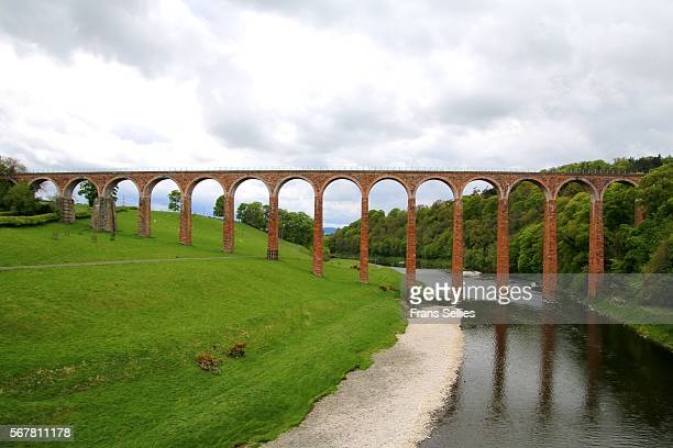 The nineteenth century arched Leaderfoot Viaduct over the River Tweed in the Scottish Borders, Scotland