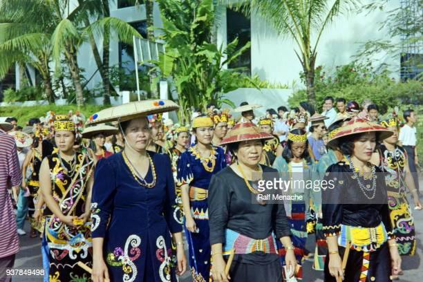 The nineties. Parade of the Gawai Dayak festival. Kuching, Sarawak Malaysia.