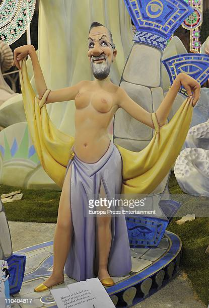 The 'ninot' caricature of Mariano Rajoy is displayed during the Mascleta of the Fallas Festival. The caricatures will be burned in the streets of...