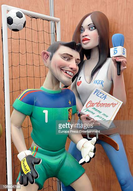 The 'ninot' caricatures of Iker Casillas and Sara Carbonero are displayed during the Mascleta of the Fallas Festival on February 7, 2011 in Valencia,...