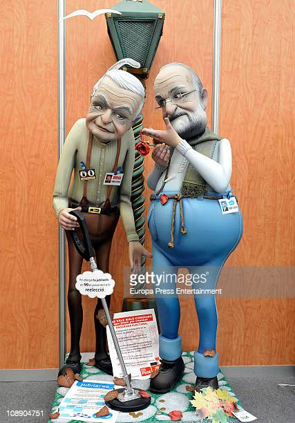 The 'ninot' caricatures of Jose Luis Rodriguez Zapatero and Mariano Rajoy are displayed during the Mascleta of the Fallas Festival on February 7,...