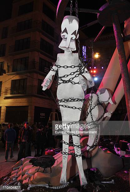 The 'ninot' caricatures of Jose Luis Rodriguez Zapatero is displayed during the Mascleta of the Fallas Festival. The caricatures will be burned in...