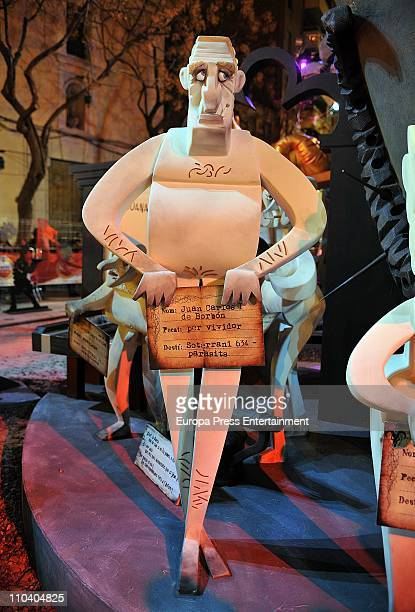 The 'ninot' caricatures of King Juan Carlos of Spain is displayed during the Mascleta of the Fallas Festival. The caricatures will be burned in the...