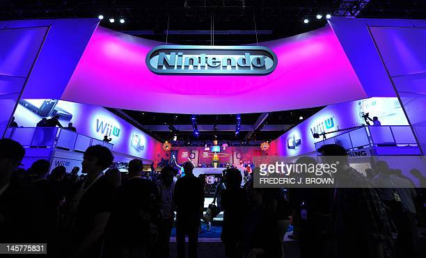 The Nintendo section attracts a crowd on the opening day of the E3 videogame conference in Los Angeles on June 5 2012 in California where Nintendo...
