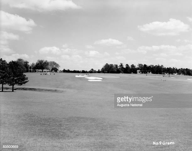 The ninth green at Augusta National Golf Club in Augusta Georgia