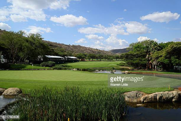 The ninth green is pictured ahead of the Nedbank Golf Challenge at the Gary Player CC on November 8 2016 in Sun City South Africa