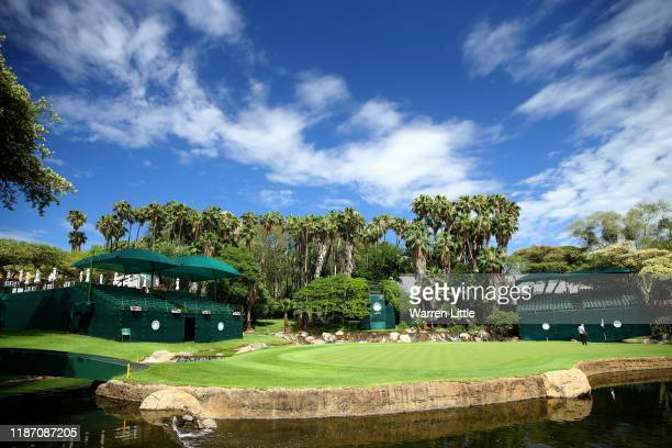 The ninth green is pictured ahead of the Nedbank Golf Challenge hosted by Gary Player at the Gary Player CC on November 12, 2019 in Sun City, South...