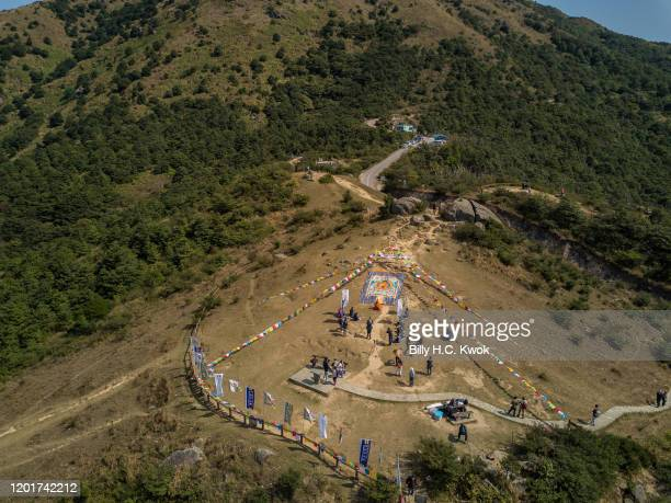 The ninth Hong Kong Buddha Sunning Festival is held at the Tai Mo Shan lookout on February 18 2020 in Hong Kong China The global death toll from the...