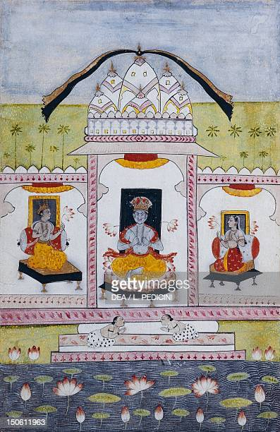 The ninth incarnation of the god Vishnu in Buddha in the temple of Jagarnath watercolour 26x18 cm India Indian Civilisation