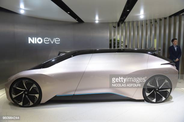 The Nio Eve concept car is displayed during the Beijing Auto Show in Beijing on April 25 2018 Industry behemoths like Volkswagen Daimler Toyota...