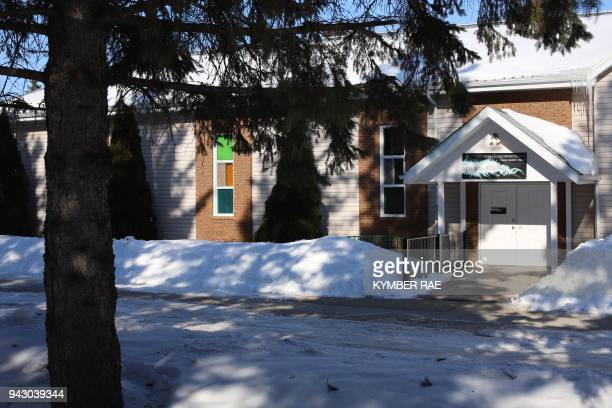 The Nipawin Apostolic Church is viewed on April 7 2018 in Nipawin Saskatchewan after a bus carrying a junior ice hockey team collided with a...