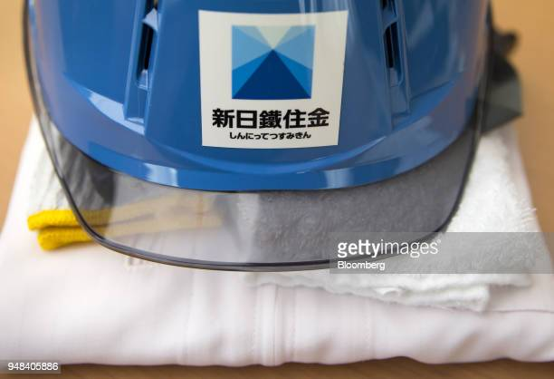 The Nippon Steel Sumitomo Metal Corp logo is seen on a helmet at the company's plant in Kashima Ibaraki Japan on Wednesday April 18 2018...