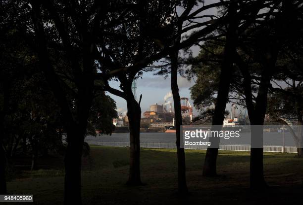 The Nippon Steel Sumitomo Metal Corp plant is seen beyond trees at a park in Kamisu Ibaraki Japan on Wednesday April 18 2018 President Donald...