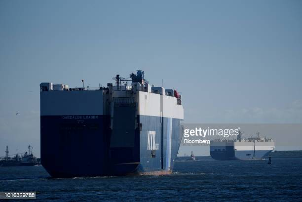 The Nippon Yusen KK Daedalus Leader vehicle carrier sails in Nagoya Japan on Tuesday July 31 2018 Japan is scheduled to release trade balance figures...
